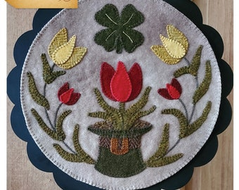 Wool Applique Pattern, A Round the Year, March, Wool Wallhanging, Tulips, Four Leaf Clover, Primitive, Wool Mat, Sew Cherished, PATTERN ONLY