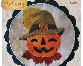 Wool Applique Pattern, A Round the Year, October, Wool Wallhanging, Jack O Lantern, Pumpkin, Wool Mat, Sew Cherished, PATTERN ONLY