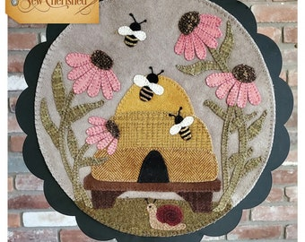 Wool Applique Pattern, A Round the Year, August, Wool Wallhanging, Bee Skep, Coneflower, Bees, Snail, Wool Mat, Sew Cherished, PATTERN ONLY