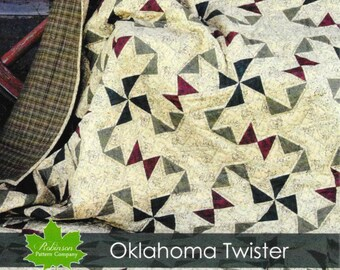 Quilt Pattern, Oklahoma Twister, Country Home Decor, Wall Hanging, Lap Quilt, Primitive Decor, Patchwork Quilt, Rustic Decor, PATTERN ONLY