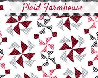 Quilt Pattern, Plaid Farmhouse, Scrappy Quilt, Scrap Fabric Pinwheel, Prairie Quilt, Patchwork Quilt, It's Sew Emma, PATTERN ONLY