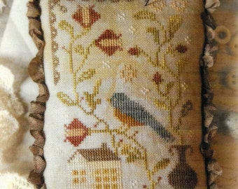 Counted Cross Stitch Pattern, Bluebird Out My Window, Bluebird, Saltbox, Cross Stitch Pillow, Winter Decor, Brenda Gervais, PATTERN ONLY