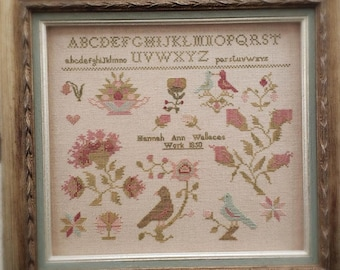 Counted Cross Stitch Pattern, Hannah Ann Wallace 1850, Antique Reproduction, Primitive Decor, Brenda Gervais, PATTERN ONLY