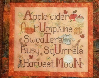 Counted Cross Stitch Pattern, Autumn Things, Pumpkins, Squirrels, Harvest Moon, Fall Decor, Autumn Decor, Waxing Moon Designs, PATTERN ONLY