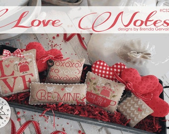 Cross Stitch Pattern, Love Notes, Valentine's Decor, Hearts, Valentine's Day, Primitive Decor, Brenda Gervais, PATTERN ONLY