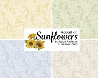 Quilt Fabric, Accent Scroll, Scroll Blender, Quilters Cotton, Accent on Sunflowers, Blender Fabric, Jackie Robinson, Animas Quilts, Benartex