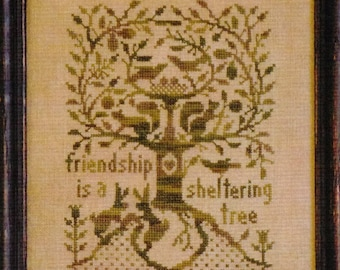 Counted Cross Stitch Pattern, A Sheltering Tree, Friendship, Primitive Cross Stitch, All Through the Night, Bonnie Sullivan, PATTERN ONLY