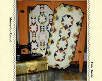 Quilt Pattern, Country Fair, Merry Go Round, Fun House, Pieced Table Runner, Scrap Quilt, Scrappy Quilt, Snuggles Quilts, PATTERN ONLY