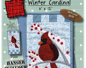 Quilt Pattern, Winter Cardinal, Applique Wallhanging, Cardinals, Holly, Winter Decor, Evergreens, Patch Abilities, PATTERN ONLY w/HANGER