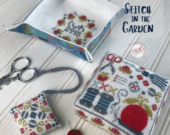 Counted Cross Stitch Pattern, Stitch in the Garden, Pinkeep, Pincushion, Scissor Fob, Sewing Tray,  Hands on Design, PATTERN ONLY