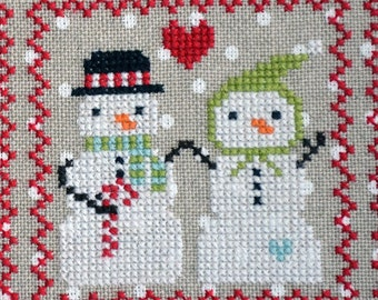 Counted Cross Stitch, Snowy 9 Patch, Snowman, Part 5, Snow, Winter Decor, Snowflakes, Christmas Decor, Annie Beez Folk Art, PATTERN ONLY