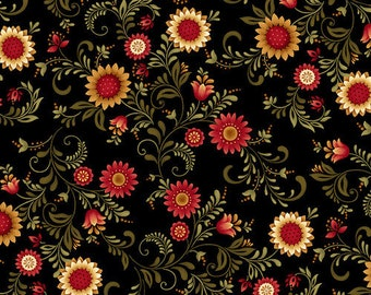 Quilt Fabric, Count Your Blessings, Sunflower Vines, Sunflowers, Vines, Floral, Cotton Quilting Fabric, Color Principle, Henry Glass Fabrics