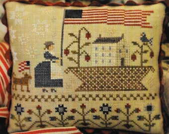 Counted Cross Stitch Pattern, Basketful of Summer Time, Patriotic Decor, Americana, American Flag, Primitive, Brenda Gervais, PATTERN ONLY