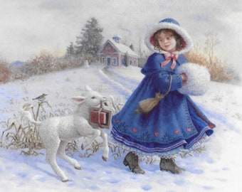 Counted Cross Stitch Pattern, Mary and Her Lamb, Winter Decor, Lamb, Nursery Rhyme, Ruth Sanderson, Heaven and Earth Designs, PATTERN ONLY