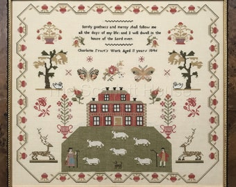 Counted Cross Stitch Pattern, Charlotte Frost 1846, Pastoral Sampler, Butterflies, Sheep, Reproduction, The Scarlett House, PATTERN ONLY