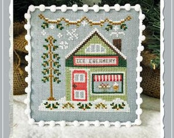 Counted Cross Stitch, Ice Creamery, Ice Cream, Evergreens, Cottage Decor, Winter Decor, Country Cottage Needleworks, PATTERN ONLY