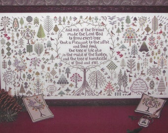 Counted Cross Stitch Pattern, And A Forest Grew, Sampler, Tree Sampler, Inspirational, Bible Verse, Creation, Rosewood Manor, PATTERN ONLY