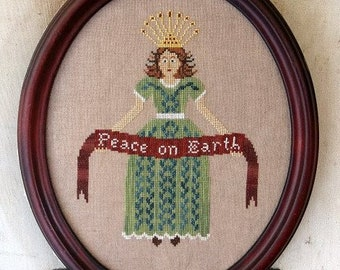 Counted Cross Stitch Pattern, Peace on Earth, Christmas Decor, Christmas Angel, Beth Twist, Heartstring Samplery, PATTERN ONLY