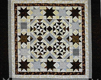 Quilt Pattern, Iced Chocolates, Quilted Wall Hanging, Lap Quilt, Star Quilt, Medallion Quilt, Cottage Rose Quilt, Deb Eggers, PATTERN ONLY