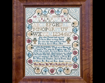 Counted Cross Stitch Pattern, Mary Brown 1765, Lord's Prayer, Quaker Sampler, Reproduction Sampler, Hands Across the Sea, PATTERN ONLY