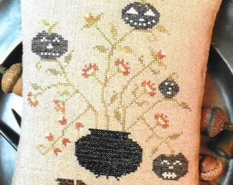 Counted Cross Stitch Pattern, Toil and Trouble, Cross Stitch Pin Keep, Primitive Pillow, Halloween Decor, Cauldron, Stacy Nash, PATTERN ONLY
