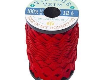 Rick Rack Trim, Riley Red, Lori Holt, Vintage Trim, Wooden Spool, Polyester Rick Rack Trim, Sewing Notion, Sewing Trim, Riley Blake Designs