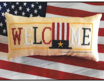 Counted Cross Stitch Pattern, Patriotic, Wee Welcome, Americana Welcome, Patriotic, Cross Stitch Pillow, Needle Bling Designs, PATTERN ONLY