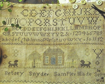 Counted Cross Stitch Pattern, Betsey Snyder 1822, Antique Reproduction, Cross Stitch Sampler, Primitive Decor, Brenda Gervais, PATTERN ONLY