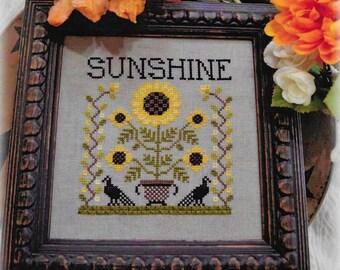 Counted Cross Stitch, Sunshine, Sunflowers, Black Birds, Summer Decor, Fall Decor, Sunflower Garden, Annie Beez Folk Art, PATTERN ONLY