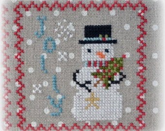 Counted Cross Stitch, Snowy 9 Patch, Snowman, Part 6, Snow, Winter Decor, Snowflakes, Christmas Decor, Annie Beez Folk Art, PATTERN ONLY