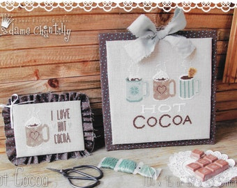 Counted Cross Stitch Pattern, Hot Cocoa, Hot Cocoa Mugs, Winter Decor, Kitchen Decor, Cocoa, Madame Chantilly, PATTERN ONLY