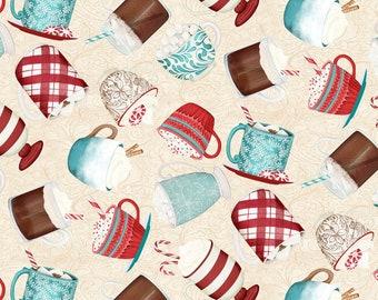 Quilt Fabric, Cuppa Cocoa, Cream Tossed Cups, Hot Cocoa, Quilters Cotton, 100% Cotton, Quilter Cotton, Premium Cotton, Danielle Leone