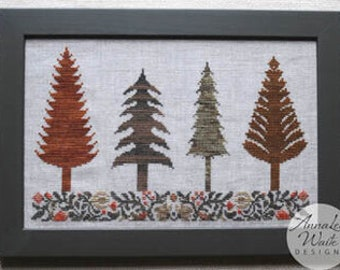 Counted Cross Stitch, Autumn Trees, Fall Decor, Autumn Decor, Fall Trees, Autumn Leaves, Woodland Decor, AnnaLee Waite Designs, PATTERN ONLY