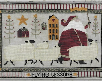 Counted Cross Stitch Pattern, Flying Lessons, Christmas Decor, Santa, Sheep, Country Decor, Primitive Decor, Teresa Kogut, PATTERN ONLY