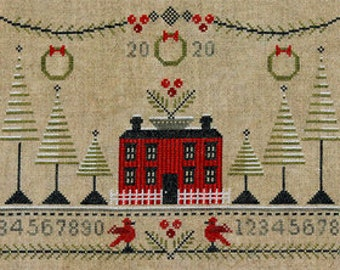 Counted Cross Stitch Pattern, Cranberry Christmas, Christmas Sampler, Red House, Red Birds, Pine Boughs, Artful Offerings, PATTERN ONLY