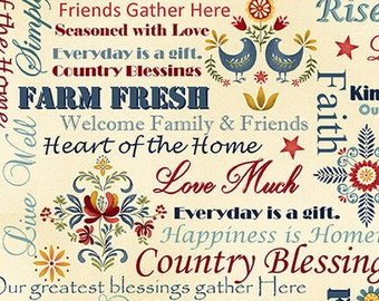 Quilt Fabric, Count Your Blessings, Farm Fresh, Inspirational, Words, Cotton Quilting Fabric, Color Principle, Henry Glass Fabrics