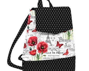 Sewing Pattern, Izzie Convertible Backpack, Cross Body Bag, Handbag, Purse, Back Pack, Ooh La La, Northcott Fabrics, PATTERN ONLY