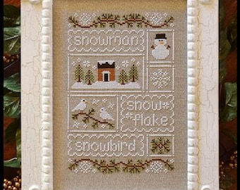 Counted Cross Stitch, Snow Sampler, Cross Stitch Patterns,  Cottage Decor, Winter Decor, Snowman, Country Cottage Needleworks, PATTERN ONLY