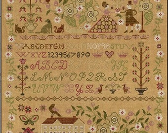 Counted Cross Stitch Pattern, Faith Hope Peace Love, Sampler, Inspirational, Primitive Decor, Teresa Kogut, PATTERN ONLY