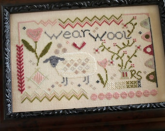 Counted Cross Stitch Pattern, Wear Wool, Sheep, Sampler, Flower Vines, Cottage Decor, Farmhouse, October House Fiber Arts, PATTERN ONLY