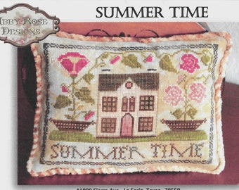 Counted Cross Stitch Pattern, Summer Time, Summer Decor, Roses, Garden Decor, Cottage Decor, Shabby Decor, Abby Rose Designs, PATTERN ONLY