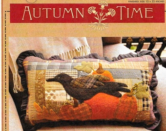 Wool Applique Pattern, Autumn Time, Pumpkins, Crow, Fall Decor, Primitive Decor, Autumn, Pieced and Appliqued Quilted Pillow PATTERN ONLY