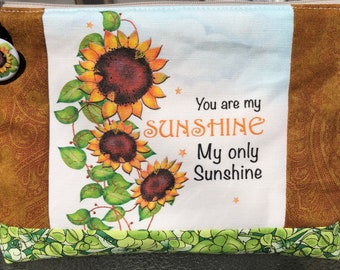 Sunflower, You Are My Sunshine, Project Bag, Cosmetic Bag, Zippered Project Bag, Makeup Bag, Needlework Project Bag, MakeUp Bag, Crochet Bag