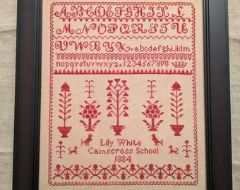 Counted Cross Stitch Pattern, Lily White 1884, Reproduction Sampler, Antique Reproduction, English Sampler, Lila's Studio, PATTERN ONLY