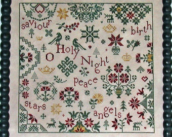 Counted Cross Stitch Pattern, Simple Gifts, O Holy Night, Christmas Decor, Inspirational, Jesus Birth, Praiseworthy Stitches, PATTERN ONLY