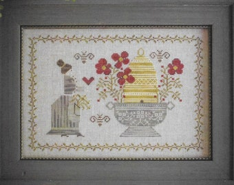 Counted Cross Stitch Pattern, The Beekeeper, Summer Decor, Bee Skep, Flower Urn, Primitive Decor, Plum Street Samplers, PATTERN ONLY