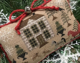 Counted Cross Stitch Pattern, Bringing Home the Tree, Christmas Pillow, Christmas Ornament, Holiday Decor, The Scarlett House, PATTERN ONLY