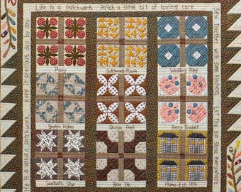Quilt Pattern, Life Is A Patchwork, Pieced and Appliqued Quilted Wall Hanging, Scrap Quilt, Table Topper, Timeless Traditions, PATTERN ONLY