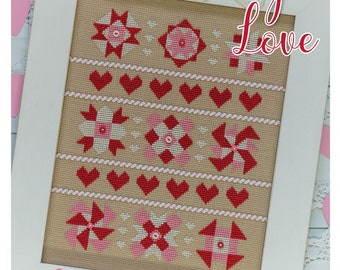 Cross Stitch Pattern, Quilty Love, Quilt Blocks, Hearts, Stars, Pinwheels, Valentine's Day, Bee in My Bonnet, Lori Holt, PATTERN ONLY