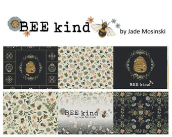Quilt Fabric, Bee Kind, Floral Fabric, Quilters Cotton, Canvas Tote Fabric, Black Floral Fabric, Save The Bees, Jade Mosinski, Northcott